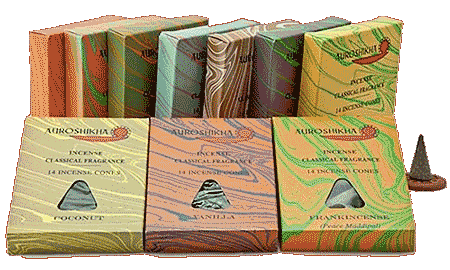 Incense - Auroshikha cones (14 per packet) end of stock