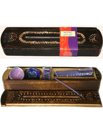 Gift pack - wooden antique style, various incense colours